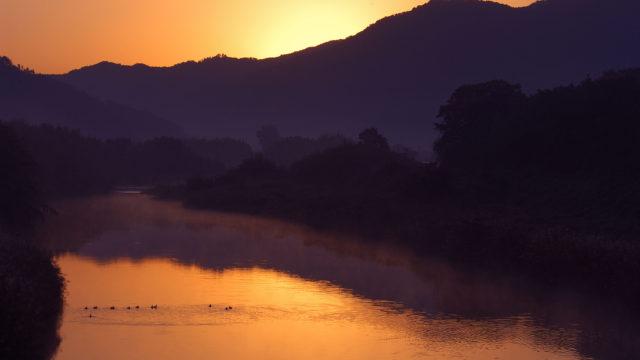 【写真】 夕焼けの篠山川